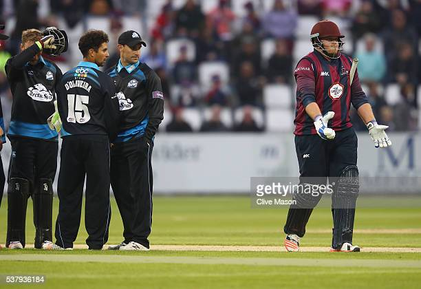 Richard Levi of Northamptonshire walks off having been dismissed off the bowling of Brett D'Oliveria of Worcestershire during the NatWest T20 Blast...