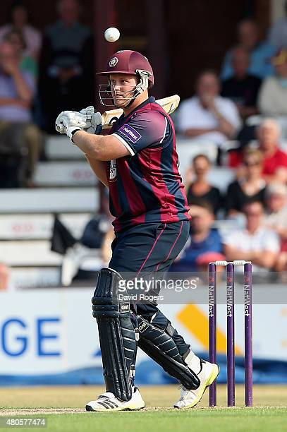 Richard Levi of Northants looks to pull the ball during the NatWest T20 Blast match between Northamptonshire Steelbacks and Leicestershire Foxes at...
