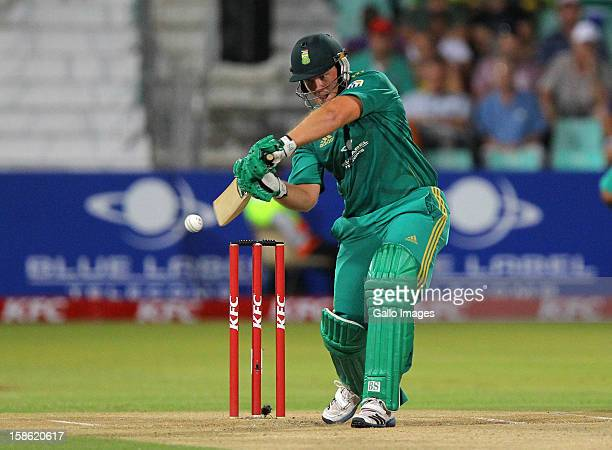 Richard Levi of South Africa bats during the 1st T20 match between South Africa and New Zealand at Sahara Park Kingsmead on December 21 2012 in...