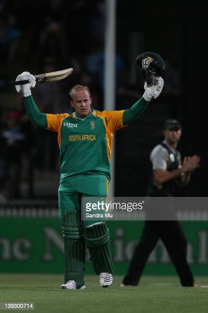 Richard Levi of South Africa celebrates his world record century during the International Twenty20 match between New Zealand and South Africa at...
