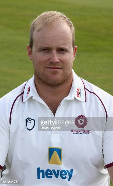 Richard Levi poses in the Specsavers County Championship kit during the Northamptonshire County Cricket photocall held at The County Ground on April...