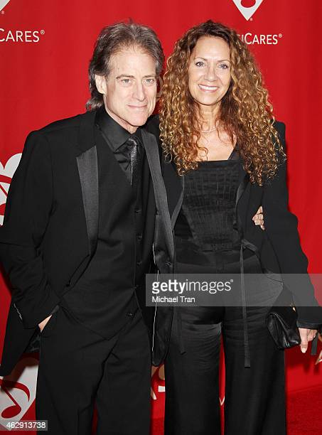 Richard Lewis and Joyce Lapinsky arrive at the 2015 MusiCares Person of The Year honoring Bob Dylan held at Los Angeles Convention Center on February...