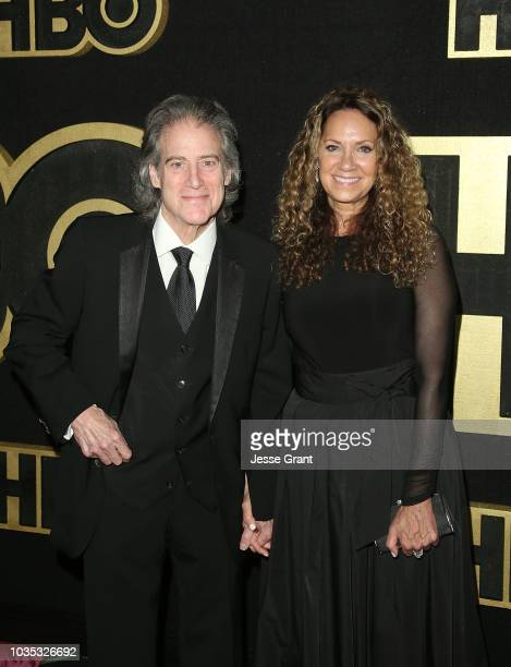 Richard Lewis and Joyce Lapinsky attend HBO's Post Emmy Awards Reception at The Plaza at the Pacific Design Center on September 17 2018 in Los...