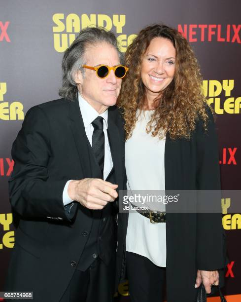 Richard Lewis and Joyce Lapinsky attend the premiere of Netflix's 'Sandy Wexler' on April 6 2017 in Hollywood California