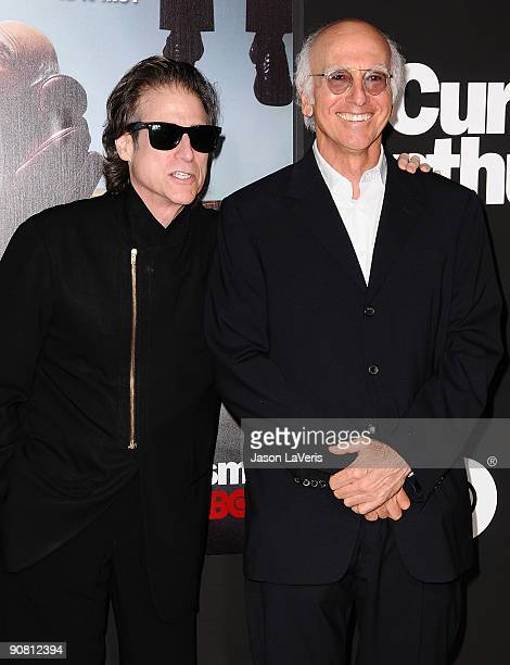 Richard Lewis and Larry David attend the 7th season premiere of HBO's Curb Your Enthusiasm at Paramount Theater on the Paramount Studios lot on...