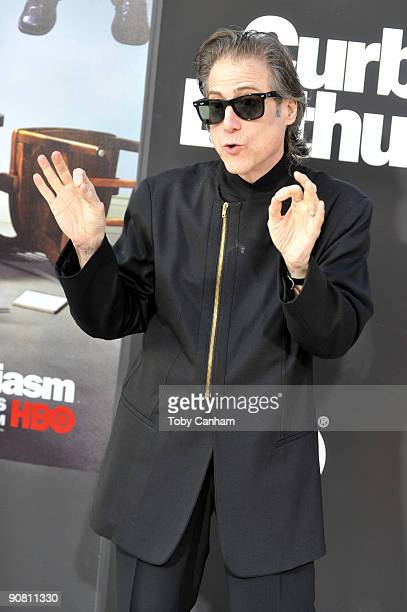 Richard Lewis poses for a picture at the premiere of HBO's Curb Your Enthusiasm season 7 held at Paramount Studios on September 15 2009 in Los...