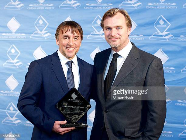 Richard Linklater and Christopher Nolan attend the 51st Annual Cinema Audio Society Awards Gala at Millennium Biltmore Hotel on February 14 2015 in...