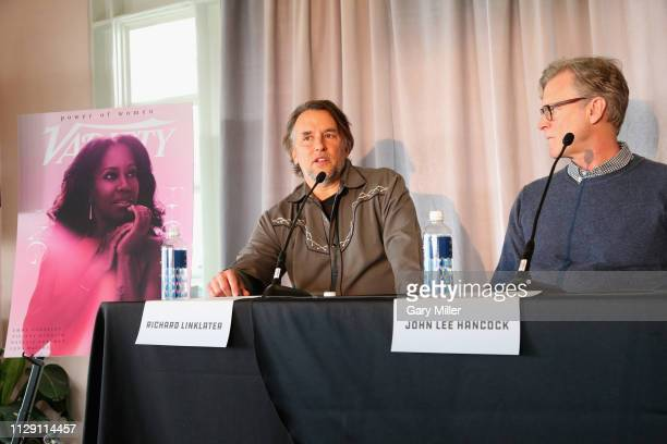 Richard Linklater and John Lee Hancock attend the 2019 Texas Film Awards Press Conference at The LINE Austin on March 7 2019 in Austin Texas