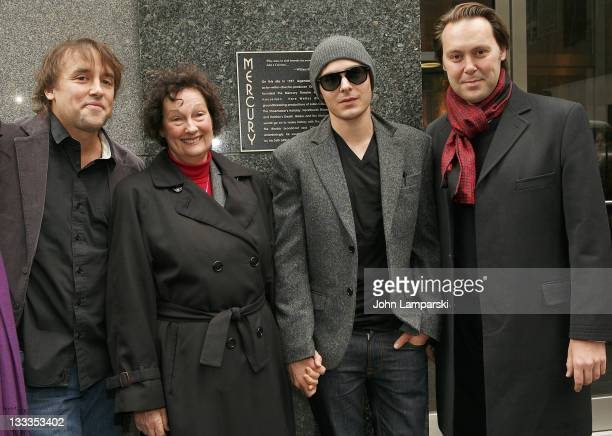 """Richard Linklater, Chris Feder, Zac Efron and Christian McKay attend the """"Me and Orson Welles"""" plaque unveiling the at the site of the original..."""