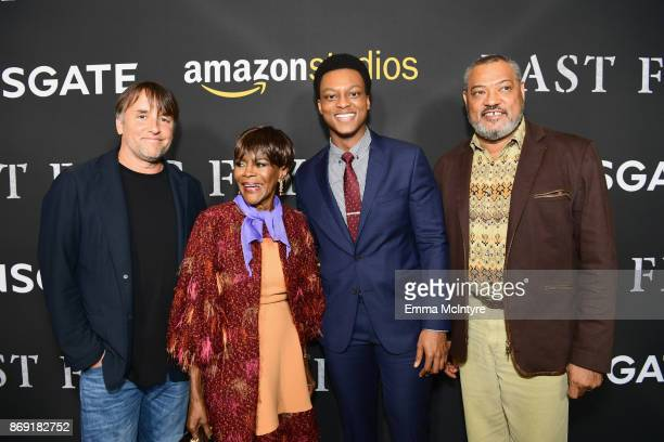 Richard Linklater Cicely Tyson J Quinton Johnson and Laurence Fishburne attend the premiere of Amazon's 'Last Flag Flying' at DGA Theater on November...
