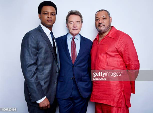 Richard Linklater Laurence Fishburne and Bryan Cranston of the film 'Last Flag Flying' pose for a portrait at the 55th New York Film Festival on...
