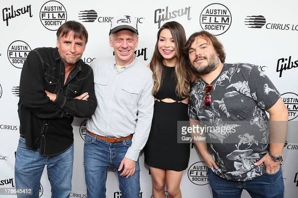 Richard Linklater Mike White Miranda Cosgrove and Jack Black pose on the red carpet during the ten year anniversary screening of School of Rock at...