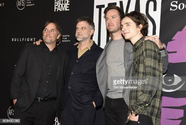 Richard Linklater Paul Thomas Anderson Armie Hammer and Timothee Chalamet attend the 2018 Texas Film Awards at AFS Cinema on March 8 2018 in Austin...