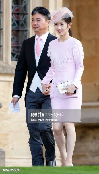 Richard Liu and Zhang Zetian attend the wedding of Princess Eugenie of York and Jack Brooksbank at St George's Chapel on October 12 2018 in Windsor...