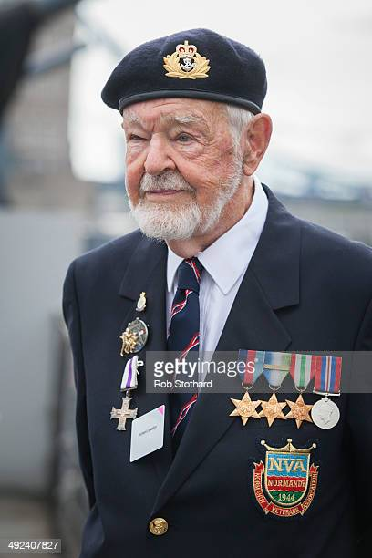 Richard Llewellyn veteran of the Normandy landings stands aboard HMS Belfast ahead of the 70th anniversary DDay commemorations on May 20 2014 in...