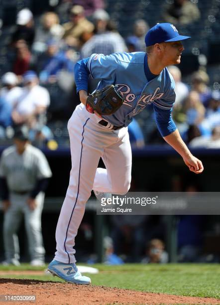 Richard Lovelady of the Kansas City Royals pitches during the game against the Seattle Mariners at Kauffman Stadium on April 11 2019 in Kansas City...