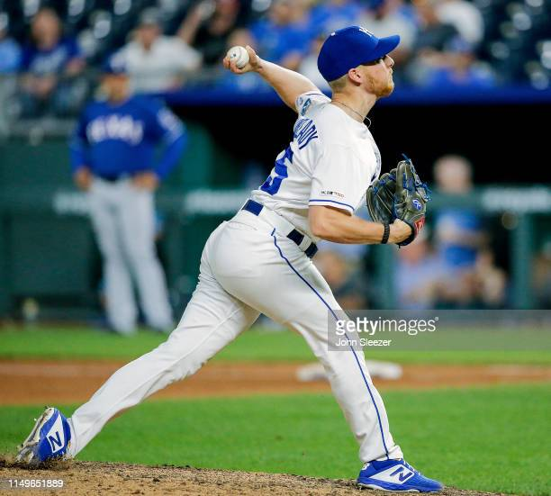 Richard Lovelady of the Kansas City Royals pitches in the ninth inning during the game against the Texas Rangers at Kauffman Stadium on May 15 2019...