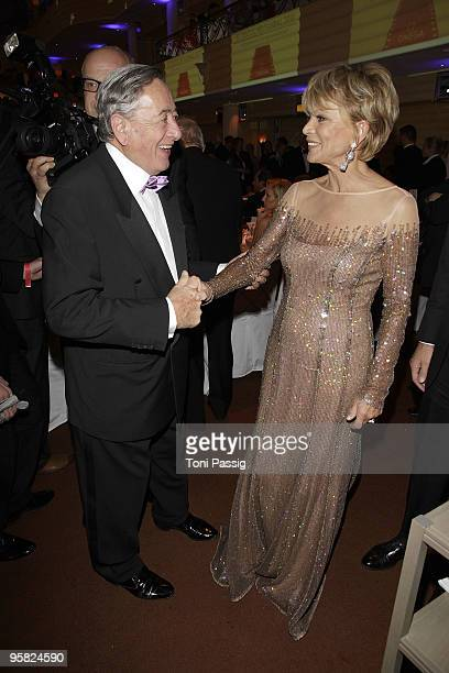 Richard Lugner and actress Uschi Glas attend the 37 th German Filmball 2010 at the hotel Bayrischer Hof on January 16 2010 in Munich Germany