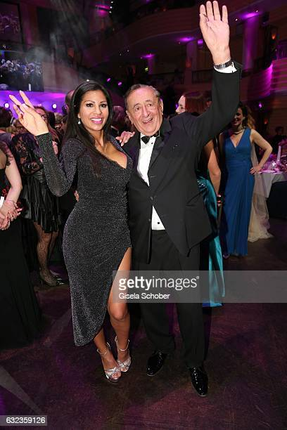 Richard Lugner and Bambi Nina Bruckner dance during the 44th German Film Ball 2017 party at Hotel Bayerischer Hof on January 21 2017 in Munich Germany