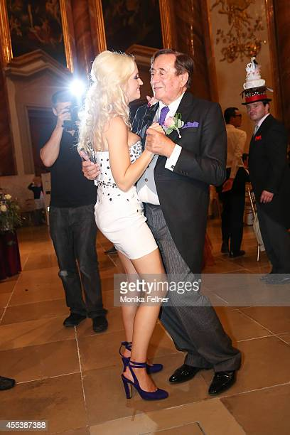 Richard Lugner and Cathy Schmitz celebrate their wedding at Liechtenstein Palace on September 13 2014 in Vienna Austria