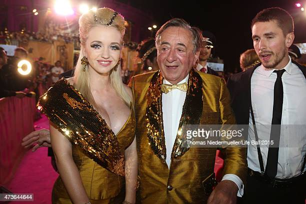 Richard Lugner and his wife Cathy attend the Life Ball 2015 at City Hall on May 16 2015 in Vienna Austria