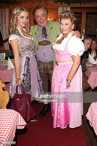Richard Lugner and his wife Cathy 'Spatzi' Lugner Rosi Schipflinger during Rosi's Schnitzelparty at Sonnbergstuben on January 24 2015 in Kitzbuehel...