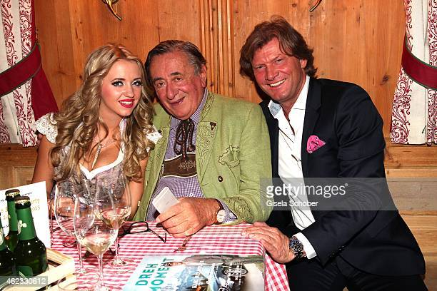 Richard Lugner his wife Cathy 'Spatzi' Lugner and Christian Marek during Rosi's Schnitzelparty at Sonnbergstuben on January 24 2015 in Going Austria