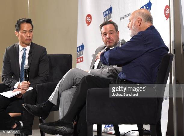 Richard Lui David Frum and Rob Reiner at 'Russia's Attack on our Democracy' panel during Politicon at Pasadena Convention Center on July 29 2017 in...
