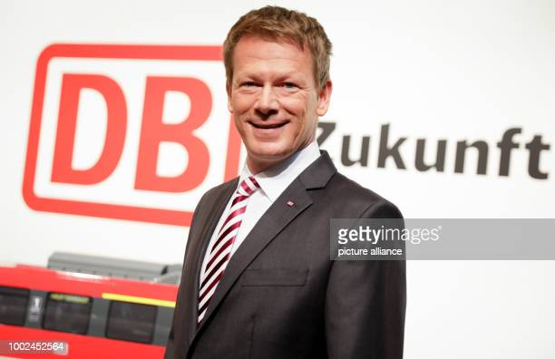 Richard Lutz Chairman of the Board of Deutsche Bahn poses for the camera ahead of the start of the semiannual Deutsche Bahn press conference in...