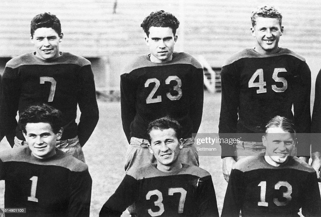 Richard Nixon with College Football Teammates : News Photo