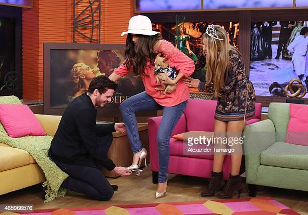 Richard Madden Ana Patricia Gamez and Ximena Cordoba are seen on the set of Despierta America to promote the film 'Cinderella' at Univision Studios...