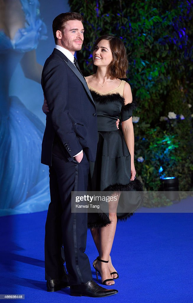 Richard Madden and Jenna Coleman attend the UK Premiere of 'Cinderella' at Odeon Leicester Square on March 19, 2015 in London, England.