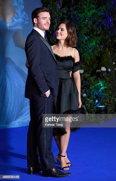 Richard Madden and Jenna Coleman attend the UK Premiere of 'Cinderella' at Odeon Leicester Square on March 19 2015 in London England