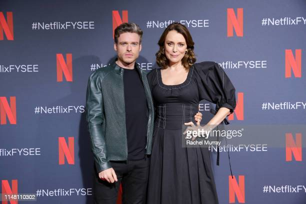 Richard Madden and Keeley Hawes attend Netflix's Bodyguard screening panel at Raleigh Studios on May 09 2019 in Los Angeles California