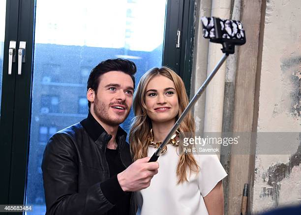 Richard Madden and Lily James attend the AOL BUILD Speaker Series Lily James And Richard Madden Discuss Their Film 'Cinderella' at AOL Studios In New...