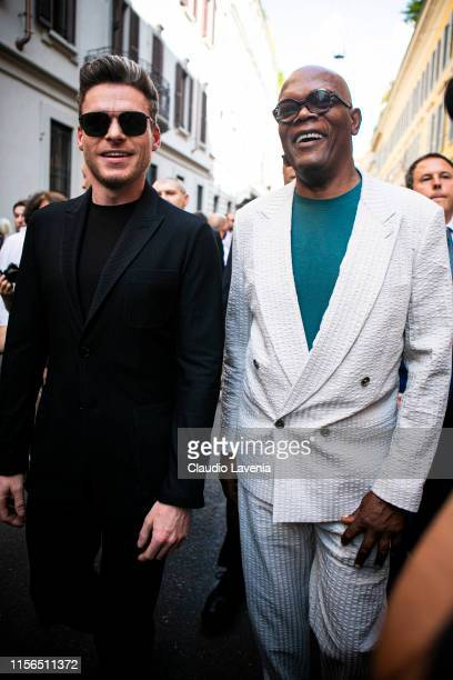 Richard Madden and Samuel L Jackson are seen outside Giorgio Armani show during the Milan Men's Fashion Week Spring/Summer 2020 on June 17 2019 in...