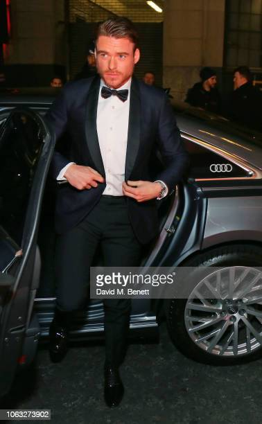 Richard Madden arrives in Audi at Evening Standard Theatre Awards at the Theatre Royal, Drury Lane, on November 18, 2018 in London, England.