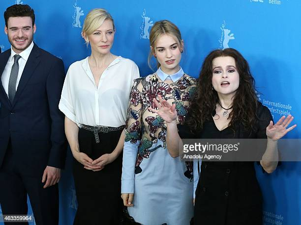 Richard Madden Cate Blanchett Lily James and Helena Bonham Carter pose during a photocall of 'Cinderalla' at the 65th Berlinale International Film...