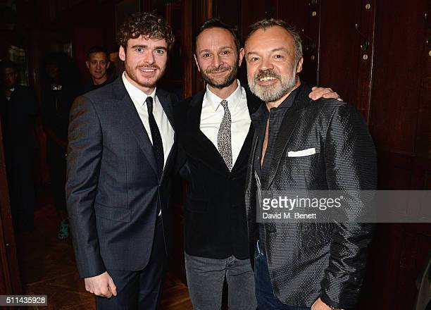 Richard Madden Jeremy Langmead and Graham Norton attend Mr Porter's fifth birthday celebration at The Savile Club on February 20 2016 in London...