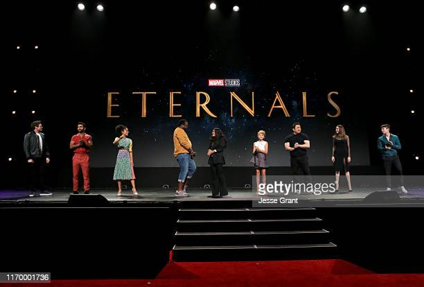 Richard Madden Kumail Nanjiani Lauren Ridloff Salma Hayek Lia McHugh Don Lee Angelina Jolie and Barry Keoghan of 'The Eternals' took part today in...