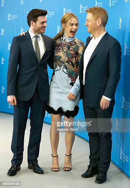 Richard Madden Lily James and Kenneth Branagh attend the 'Cinderella' photocall during the 65th Berlinale International Film Festival at Grand Hyatt...