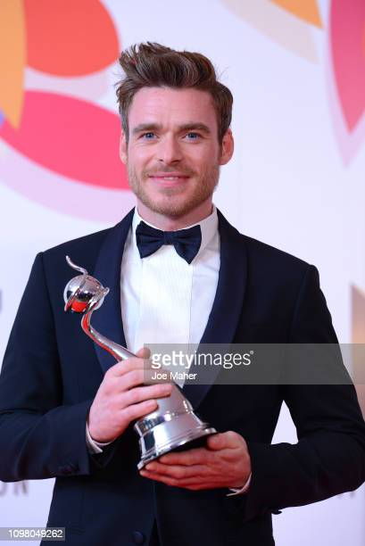 Richard Madden poses with the award for Best Drama in the winners room during the National Television Awards held at The O2 Arena on January 22 2019...