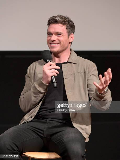 """Richard Madden speaks onstage during the Netflix """"Bodyguard"""" screening & reception at Linwood Dunn Theater on April 07, 2019 in Los Angeles,..."""