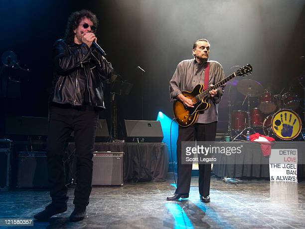 Richard 'Magic Dick' Salwitz and JGeils of the J Geils Band performs at the DTE Energy Center on August 19 2011 in Clarkston Michigan