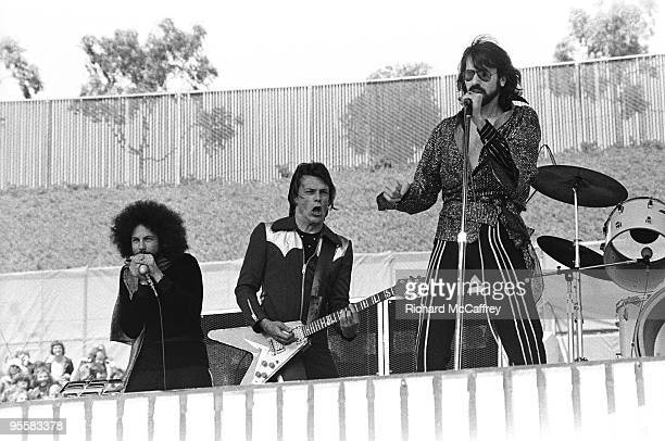 Richard 'Magic Dick' Salwitz J Geils and Peter Wolf of The J Geils Band perform live at The Oakland Coliseum in 1976 in Oakland California