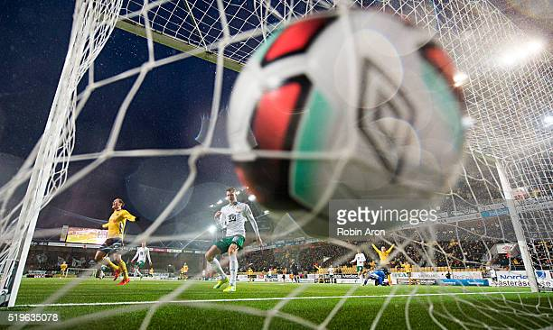 Richard Magyar of Hammarby IF is dejected after own goal 31 and Viktor Prodell and Simon Hedlund of Elfsborg celebrates during the Allsvenskan match...