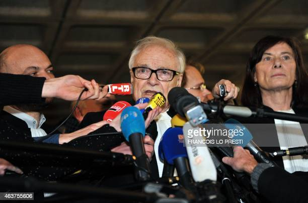 Richard Malka Henri Leclerc and Frederique Beaulieu lawyers of former IMF chief and defendant Dominique StraussKahn speak to the press at the...