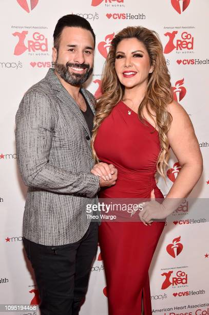 Richard Martinez and Adrianna Gallardor attend The American Heart Association's Go Red For Women Red Dress Collection 2019 Presented By Macy's at...