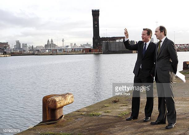 Richard Mawdsley of Peel Holdings and Prime Minister David Cameron tour the £45 billion Wirral Waters development on January 6 2011 in Wirral England...