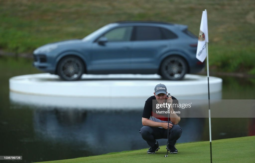 Richard McEvoy of England lines up a putt on the 18th green during day three of the Porsche European Open at Green Eagle Golf Course on July 28, 2018 in Hamburg, Germany.
